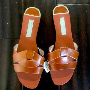 Zara Brown Leather Slide